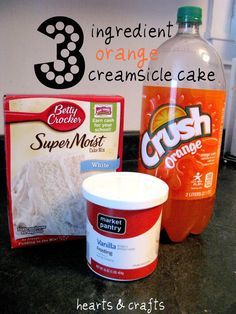 Orange Creamsicle Cake    1 Box White Cake Mix  12 oz. Orange Soda  1 Tub Icing     Whisk together cake mix (mix only, no ingredients from box directions) and orange soda until batter is peachy in color and has few lumps.  Pour batter into a greased pan.  Bake according to cake mix box. (Check on it a few minutes early).  Allow to cool.  Frost with vanilla {or cream cheese} icing.