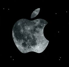 Apple Logo Space Moon Wallpaper