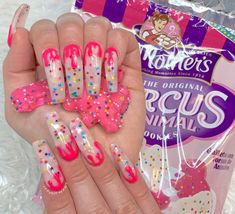 Aug 2019 - Soft White Drip Acrylic Nails With Real Encapsulated Circus Animal Cookies/Sprinkles White Acrylic Nails, Summer Acrylic Nails, Best Acrylic Nails, Drip Nails, Gel Nails, Bling Nails, Swag Nails, Circus Nails, Sprinkle Nails