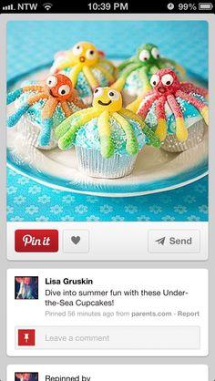 Under the sea cupcake Sea Cupcakes, Cute Cupcakes, Cupcakes Design, Preschool Snacks, Preschool Crafts, Preschool Ideas, Party Treats, Party Cakes, Cupcake Heaven