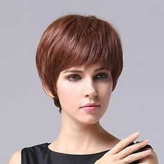 Capless Curta Auburn escuro ondulado 100% perucas de cabelo humano – BRL R$ 166,03