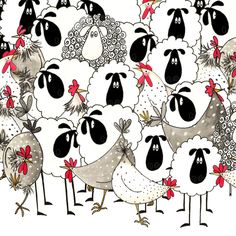 Sheep and chickens by Sarah Boddy (DoodleDoo Personalised Charity Cards)