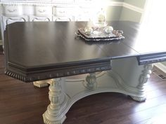Dining table we stained with general finished java gel stain. Sealed it with the gel topcoat urethane. bottom painted in annie sloan chalk paint in paris grey and I did gold metallic highlights with gilding wax. How to: http://www.restyledrenewed.com/#!Dining-Room-Table/c23rm/555a68f70cf298b2d3c87cb3