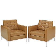 Found it at Wayfair - Modway Loft Leather Arm Chair (Set of 2)