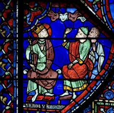 "aleyma:  ""Charlemagne quizzing his wise men about the Milky Way"", Panel 8 from The Legends of Charlemange window in Chartres Cathedral, c.1225 (source)."