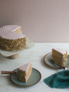 Italian Pistachio Cake with Roasted Plum Frosting   A Cozy Kitchen