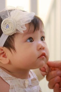Unique couture baby headband Angel Bebe by MoonlightFeatherInc