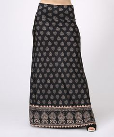 Another great find on #zulily! Black & Taupe Leaf Maxi Skirt - Plus by BOLD & BEAUTIFUL #zulilyfinds
