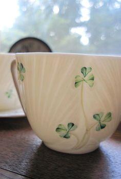 belleek+tea+set+vintage | Vintage Belleek set of two tea cups by bedouin on Etsy