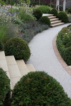 Stone steps, brick edging and gravel. Three components but looks good