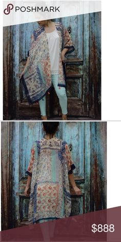 PRINTED PONCHO W TASSELS READ MEASUREMENTS BUST 36 across laying flat.  LENGTH 37. 100% ACRYLIC ONE SIZE FITS MOST.  Thin material.  Open on the sides except for a small area. This gives you an arm hole. Some tassels. New without tags. Accessories Scarves & Wraps