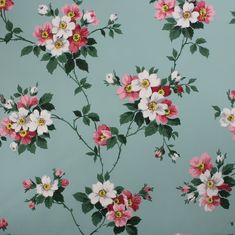Vintage Wallpaper 1940's Pink and White Floral by RosiesWallpaper