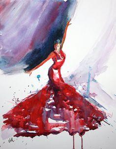 Aquarelle : Flamenco | Virginie SCHROEDER Aquarelles Peintures sur Toulouse France