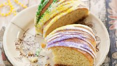King Cake - Recipe - FineCooking - cakes - In New Orleans, king cake is to Mardi Gras what pumpkin pie is to Thanksgiving: the holiday just wo - What Pumpkin, King Cake Recipe, Mardi Gras Food, Yellow Food Coloring, Purple Food, Thing 1, Cake Flour, Daily Meals, Sweet Bread