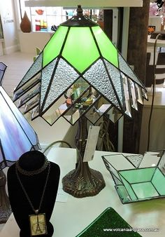 Green, crystal and bevelled glass leadlight lamp.
