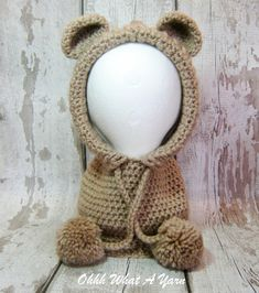 Beige chunky crochet teddy bear hood, snood - Toddler size 1-3 years approx £20.00 Crochet Snood, Crochet Teddy, Chunky Crochet, Crochet Baby, Bear Ears, Cute Teddy Bears, Yarn Colors, Christmas Fun, Headbands