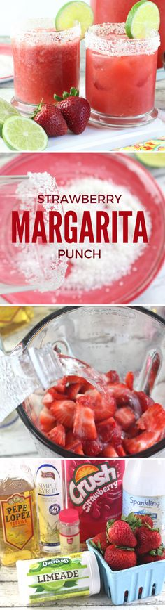 Strawberry Margarita Punch Drink Recipe  Oh, how I'm already loving the longer, sunny days of spring and early summer. It has me in a mood for yummy margaritas at the end of the day, which inspired this recipe today!  Strawberry Margarita Punch. So sweet