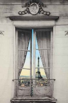 Eiffel Tower View - Found at Urban Outfitters, the Paris Window View Tapestry gives the illusion of a stunning Eiffel Tower view from a false window frame. Paris 3, I Love Paris, Beautiful Paris, Paris Grey, Beautiful Wall, Torre Eiffel Paris, Paris By Night, Window View, Paris Apartments