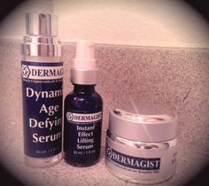 For the past month I have been using, Dermagist, Complete Rejuvenation System.  The system includes the Dynamic Age Defying Serum, Instant effect lifting serum and original smoothing cream.