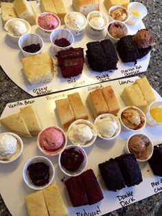 Cake tasting- great idea as to not have to make so many mini's!!