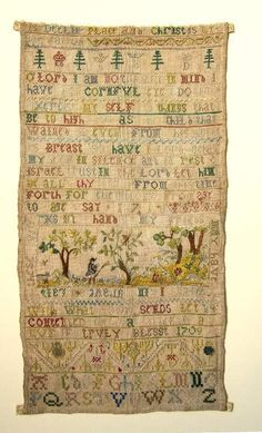 English Sampler ~ 1709-1718 ~ maker unknown ~ pictorial band sampler ~  linen, embroidered with polychrome silks in cross, satin and eyelet stitch. The top edge is cut and part of the sampler is missing; the other edges are turned under and stitched. Fitzwilliam Museum Collections