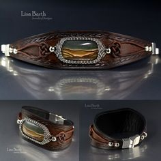 You can learn to do this too.  Here is the tutorial, by Lisa Barth Designs:  https://www.etsy.com/listing/465091880/leather-and-woven-wire-bracelet-tutorial?ref=shop_home_active_4