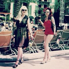 VLV 2012 with my gorgeous friend Stephanie Castro! Pinners original post read: Pool Party at Viva Las Vegas Rockabilly Weekender -- i want to be rockabilly! Right @Laura Jayson Riggs ?