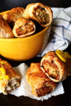Can I really call these sausage rolls if there isn't any actual sausage in them? It's almost like I'm lying, but what else can I call these meaty rolls wrapped in puff pastry and baked till perfect. Chicken Sausage Rolls, Bacon Sausage, Chicken Bacon, Chicken Recipes, Sausage Recipes, Pork Recipes, Vegetable Recipes, Appetizer Recipes, Leche Flan