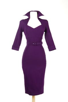 Pinup Couture Lorelei Dress in Plum Bengaline