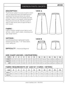 Image of EMERSON CROP PANT / SHORT (PDF)
