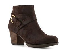 DSW: Crown Vintage Carrie Bootie: suede bootie with criss cross straps, buckle, and chunky heel. Colors: black, brown. Price: $49.95. These are cute booties to wear with jeans. These are casual and on trend with a chunky heel.