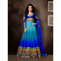 You Will Be Sure To Make A Powerful Fashion Statement With This Blue & Cadet Blue #FauxGeorgette #Suit. For #buyonline click below link :- http://sarijewels.com/new-arrivals/captivating-blue-and-cadet-blue-salwar-kameez.html