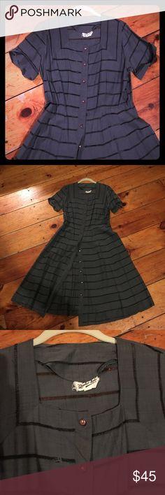 Vintage 50s Dress Vintage 50s dress in grey w sheer stripes and square neck. Very flattering. Fits dress size 8-10 vintage Dresses Midi