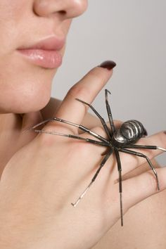 Spider with turquoise brooch....definitely NOT for arachnophobes! (ElizabethKhoury on etsy)