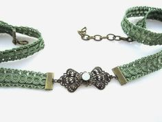 Wedding Dress Sash – Olive Green Bridal Belt with Brass Buckle and Swarovski Bead by TalilaDesign