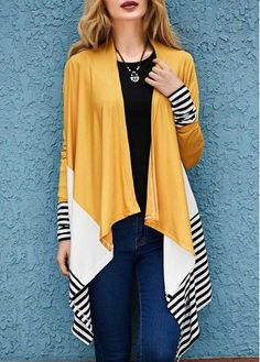 Stitch Fix Fall Fashion! Sign up today for your own personal stylist for $20. Long cardigan, colorblock with mustard, cream, navy & white stripes. Stripe Print Long Sleeve Asymmetric Cardigan