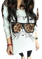 Thinkbay® Trendy Nalula Women Clothes Tops Tees T Shirt Leopard Glasses Kitten T-shirt From Olivia's Stylism Boutique Price: $6.40 Available at: http://astore.amazon.com/womtre-20/detail/B00FF43VDY