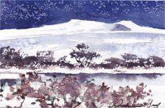 Hand Painted Card Snow scene Pen y Fan by WendyPowellJonesArt on Etsy