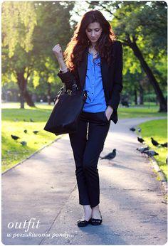 Alina Rose Makeup Blog: Outfit- w poszukiwaniu pandy, kobaltowa koszula w roli głównej.