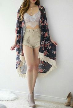 My outfit that I wore to Nochella! It was amazing, I was one of the coolest kids there! Crop Top Outfits, Casual Fall Outfits, Cute Summer Outfits, Girly Outfits, Kpop Fashion Outfits, Girls Fashion Clothes, Cute Fashion, Girl Fashion, Really Cute Outfits