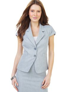 Summer Office Look wearing this Crosshatch Cap Sleeve Jacket by The Limited. 34.99