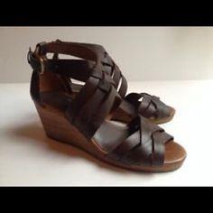 Lucky brand wedges. worn once. Donating! Leather lucky brand 8.5 wedges worn once! Perfect like new condition Lucky Brand Shoes Wedges