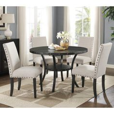 Roundhill Furniture Biony Espresso Wood 5 Piece Dining Set - Upholstery Color: Tan - Home - Furniture - Dining & Kitchen Furniture - Dining Sets & Collections
