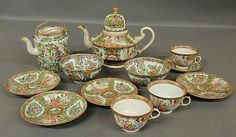 """Group of Rose Medallion porcelain to include a teapot, c.1860, five dishes, two bowls, three cups, most marked """"China"""" and a Rose Canton tea caddy."""