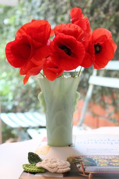 Wild poppies in jadite vase - beautiful but it's illegal to pick wild flowers in Britain