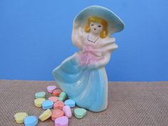 Southern Belle Ceramic Figurine Lady Pastel Big Hat Planter Vase Vintage Decor Mid Century Art Shawnee Pottery Collectible Shabby Chic Gift by WillowValleyVintage on Etsy