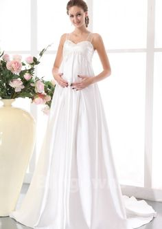 Sweep Taffeta Straps Ruched Zipper A-line Sleeveless White Maternity Wedding Dresses