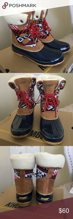 NWT Khombu Duck Boots Red, tan, and navy Khombu duck boots. Brand new with tags. Size 9M. Khombu Shoes Winter & Rain Boots