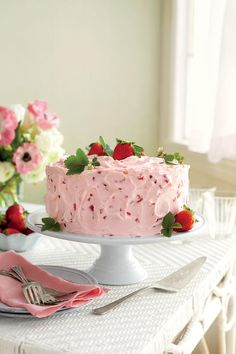 You can assemble this glorious cake up to two days ahead; store at room temp. Also, you can freeze cooled layers up to a month in plastic wrap and aluminum foil. The sweet-tart Strawberry-Lemonade Jam and Strawberry Frosting make for a delicious finish.    Recipe:Strawberry-Lemonade Layer Cake