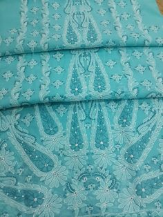Lucknow Chikankari Online Suit Length 3 piece blue Cotton with very fine murri, shadow & kangan work with designer big paisleys, full embroidered sleeves & pure chiffon dupatta $76.5